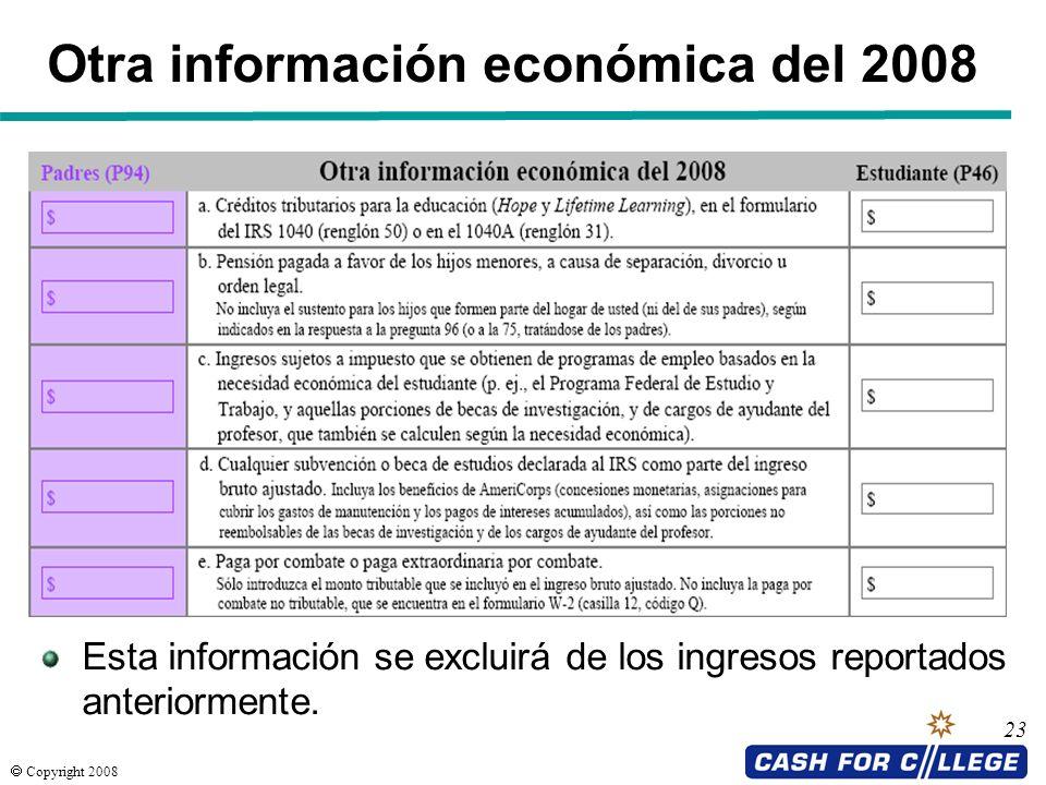 Otra información económica del 2008