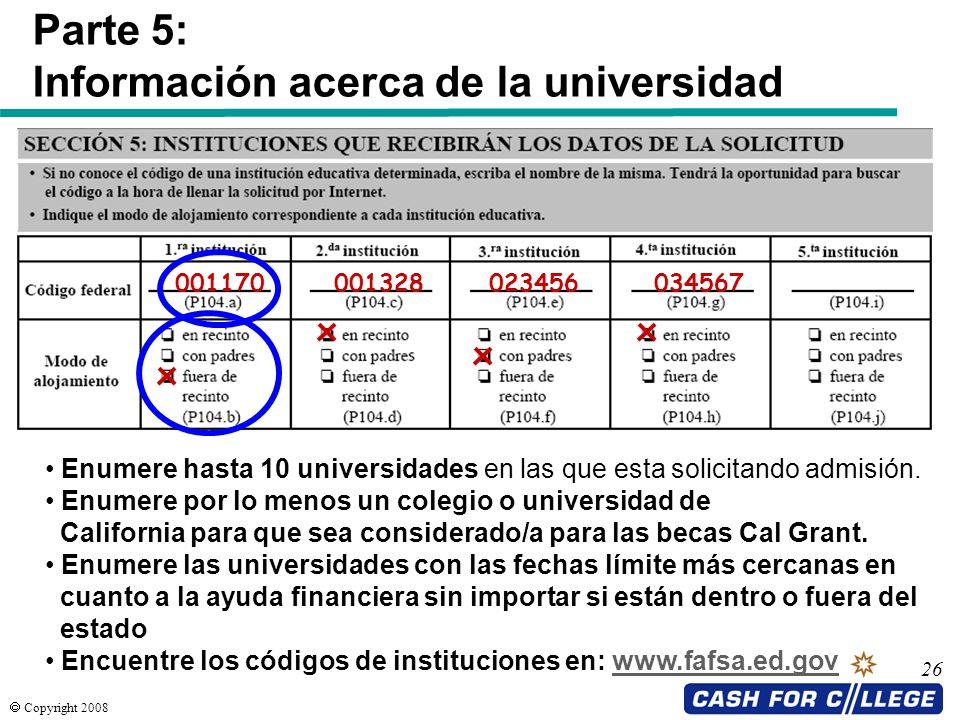 Información acerca de la universidad