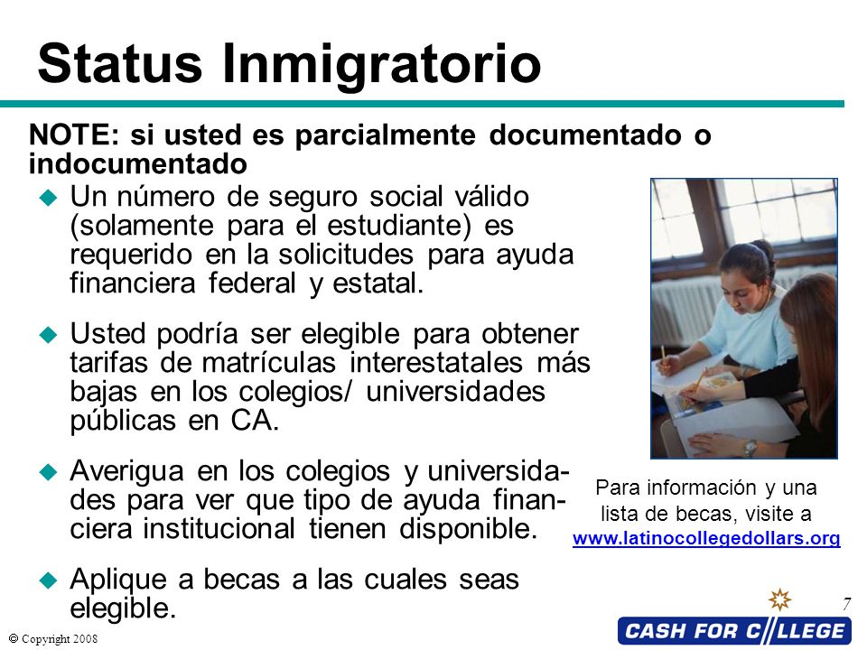 Status Inmigratorio NOTE: si usted es parcialmente documentado o indocumentado.