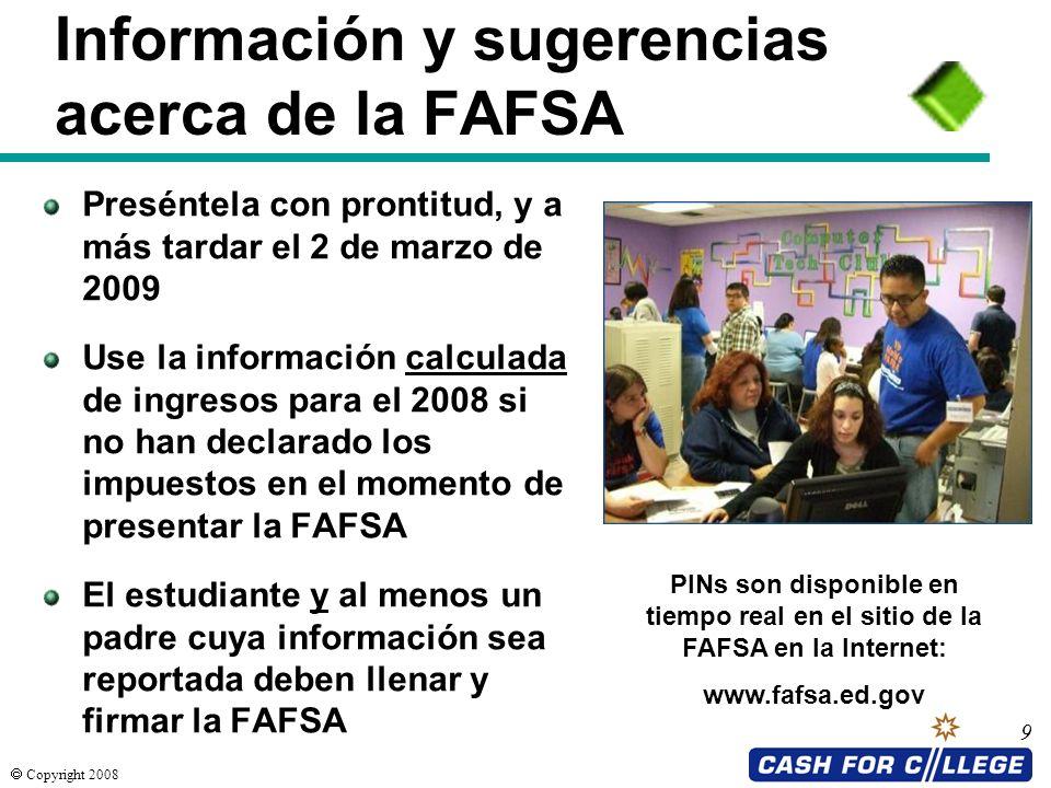 Información y sugerencias acerca de la FAFSA