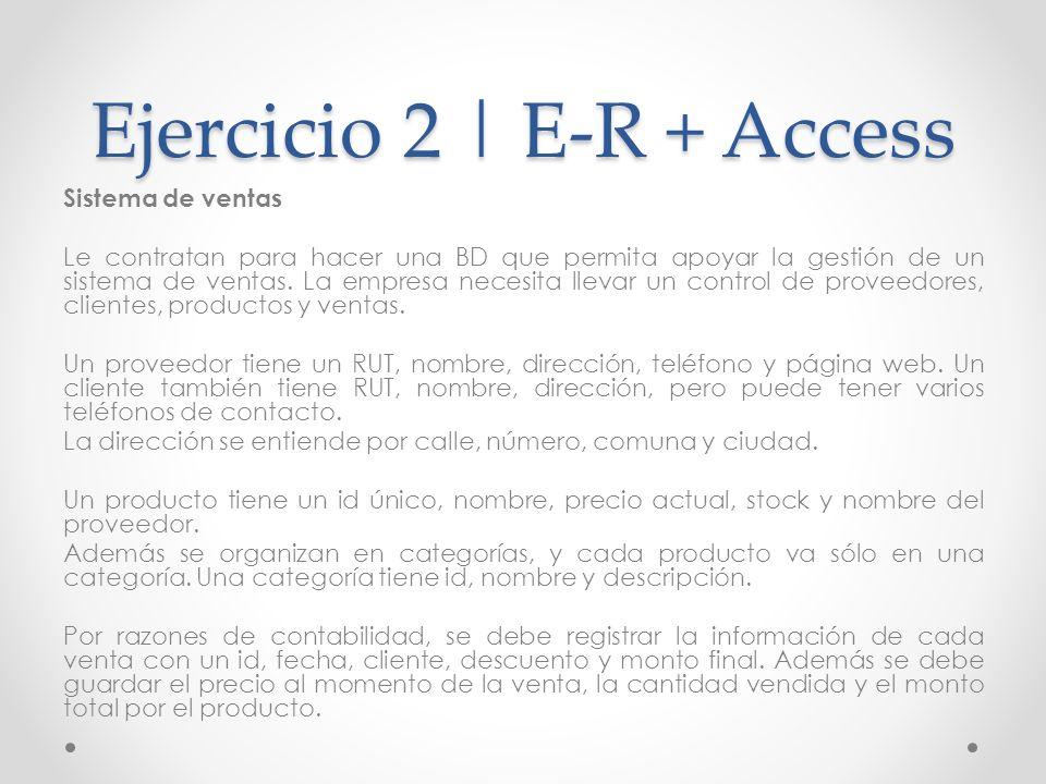 Ejercicio 2 | E-R + Access