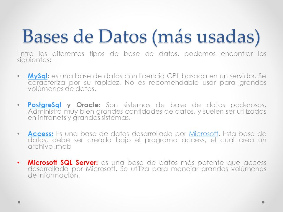 Bases de Datos (más usadas)