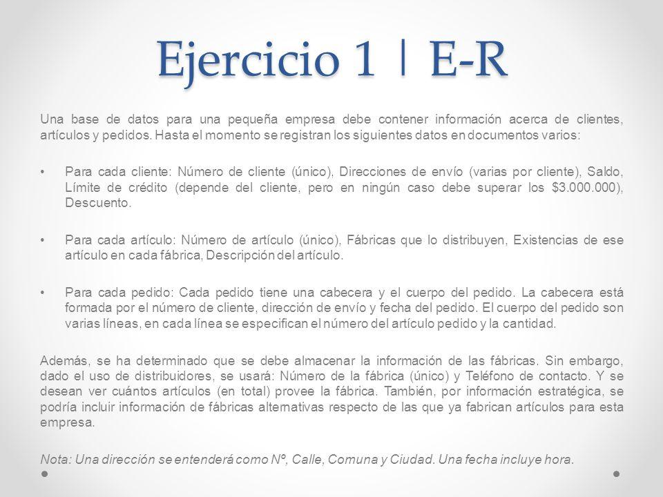 Ejercicio 1 | E-R