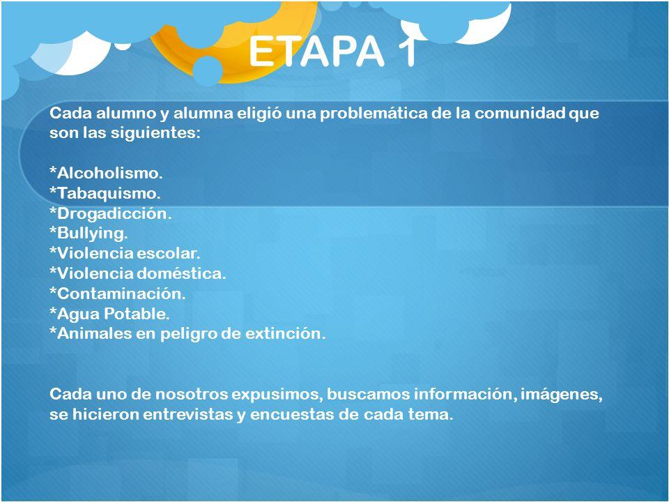 ETAPA 1 Cada alumno y alumna eligió una problemática de la comunidad que son las siguientes: *Alcoholismo.