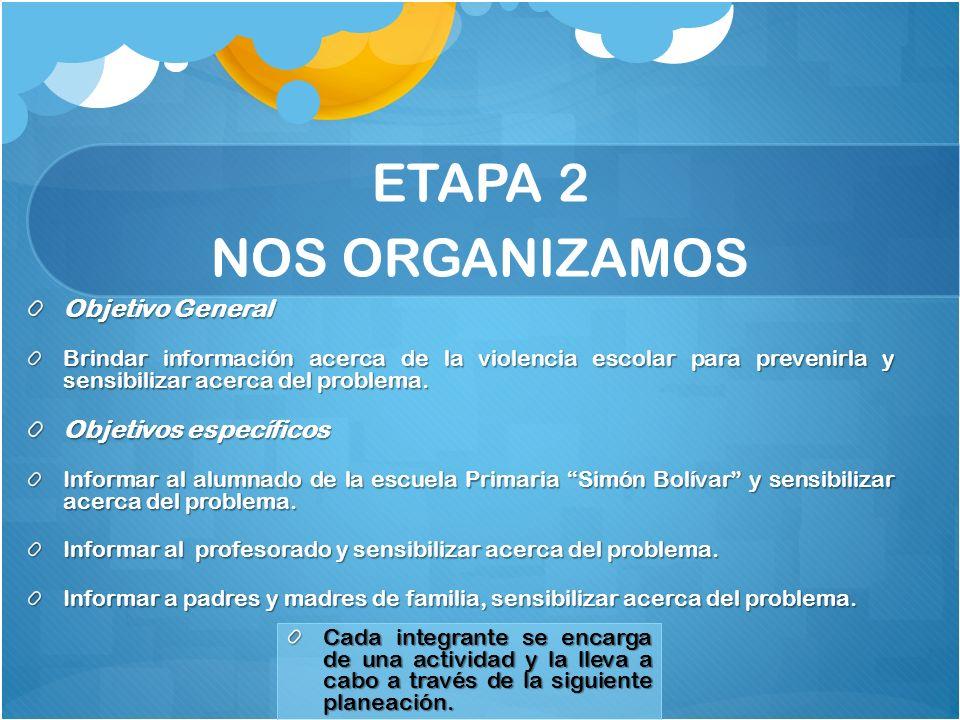ETAPA 2 NOS ORGANIZAMOS Objetivo General Objetivos específicos