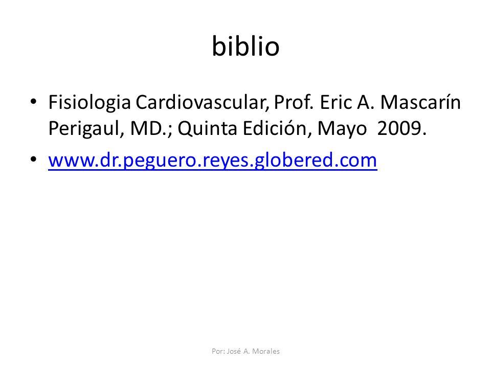 biblio Fisiologia Cardiovascular, Prof. Eric A. Mascarín Perigaul, MD.; Quinta Edición, Mayo 2009.