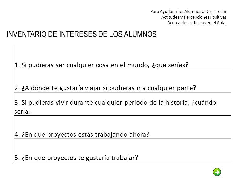 INVENTARIO DE INTERESES DE LOS ALUMNOS