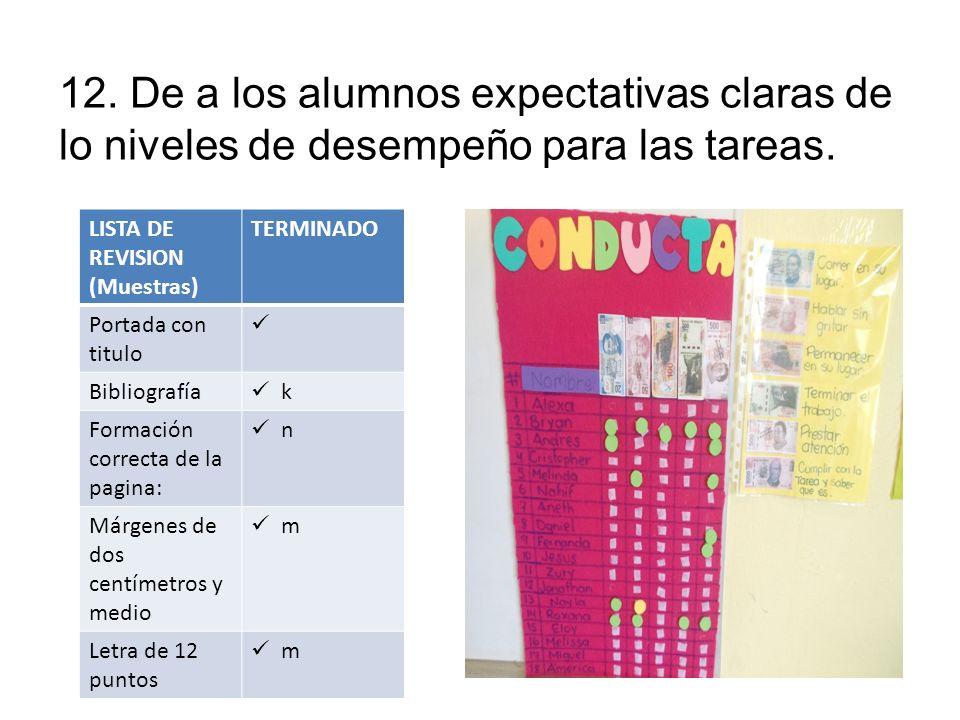12. De a los alumnos expectativas claras de lo niveles de desempeño para las tareas.