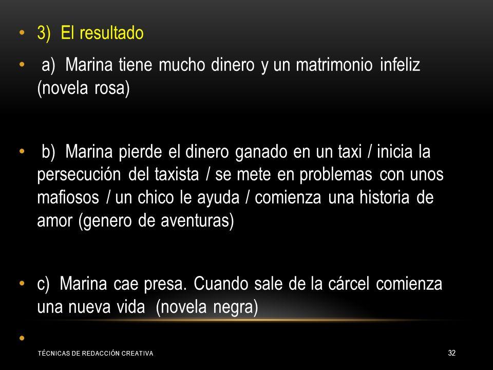 a) Marina tiene mucho dinero y un matrimonio infeliz (novela rosa)