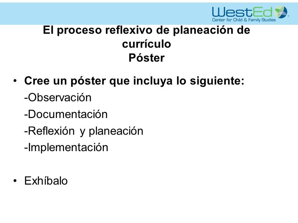 El proceso reflexivo de planeación de currículo Póster