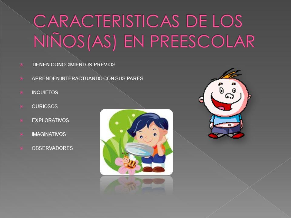 CARACTERISTICAS DE LOS NIÑOS(AS) EN PREESCOLAR
