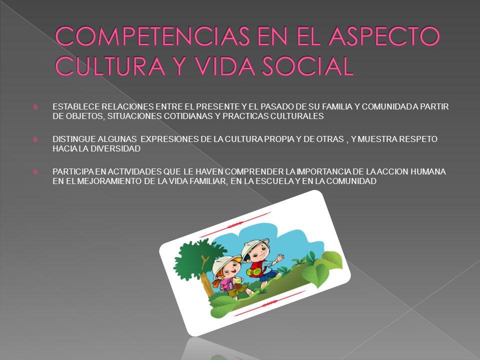 COMPETENCIAS EN EL ASPECTO CULTURA Y VIDA SOCIAL