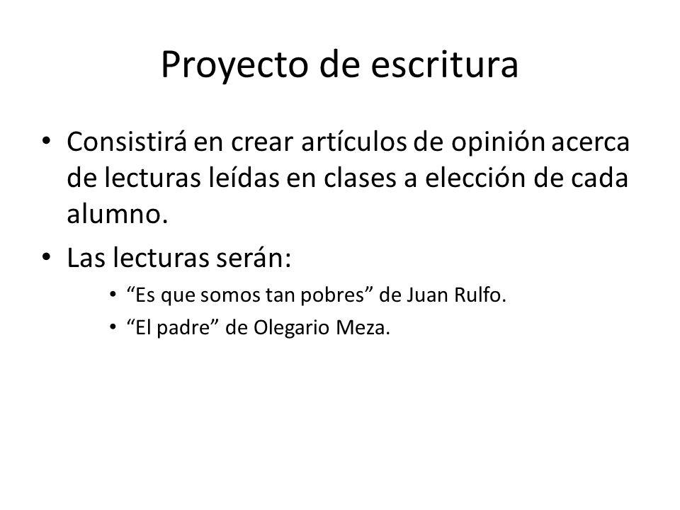 Proyecto de escritura Consistirá en crear artículos de opinión acerca de lecturas leídas en clases a elección de cada alumno.