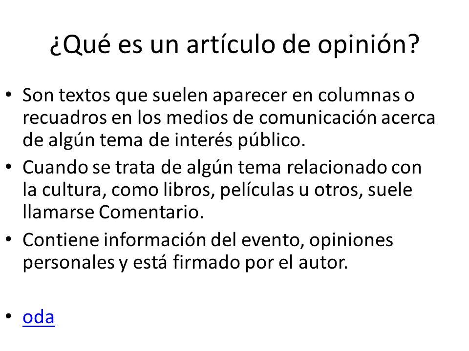 ¿Qué es un artículo de opinión