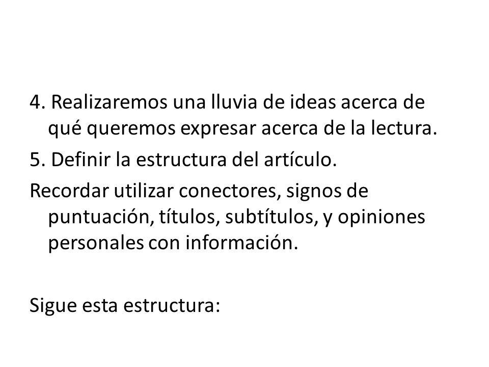 4. Realizaremos una lluvia de ideas acerca de qué queremos expresar acerca de la lectura.