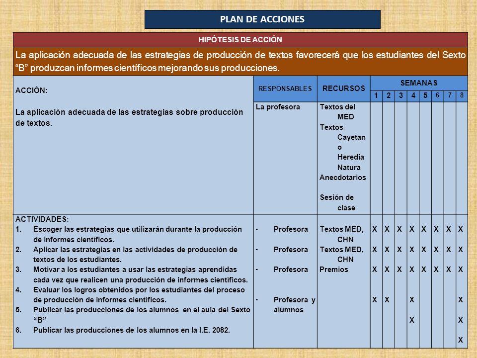 PLAN DE ACCIONES HIPÓTESIS DE ACCIÓN.