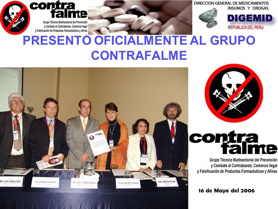 PRESENTÓ OFICIALMENTE AL GRUPO CONTRAFALME