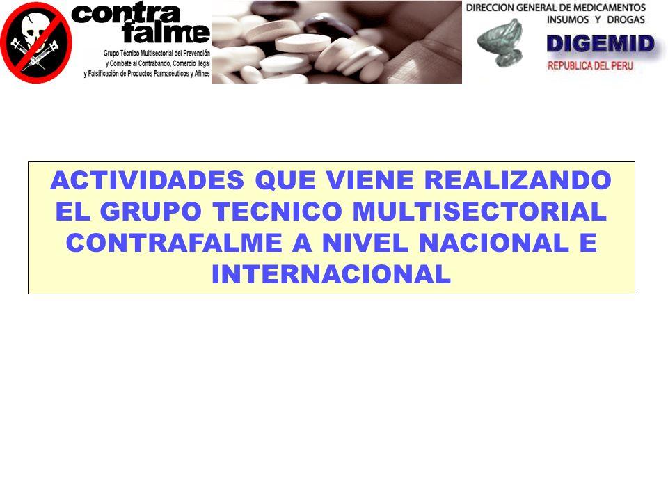 ACTIVIDADES QUE VIENE REALIZANDO EL GRUPO TECNICO MULTISECTORIAL CONTRAFALME A NIVEL NACIONAL E INTERNACIONAL