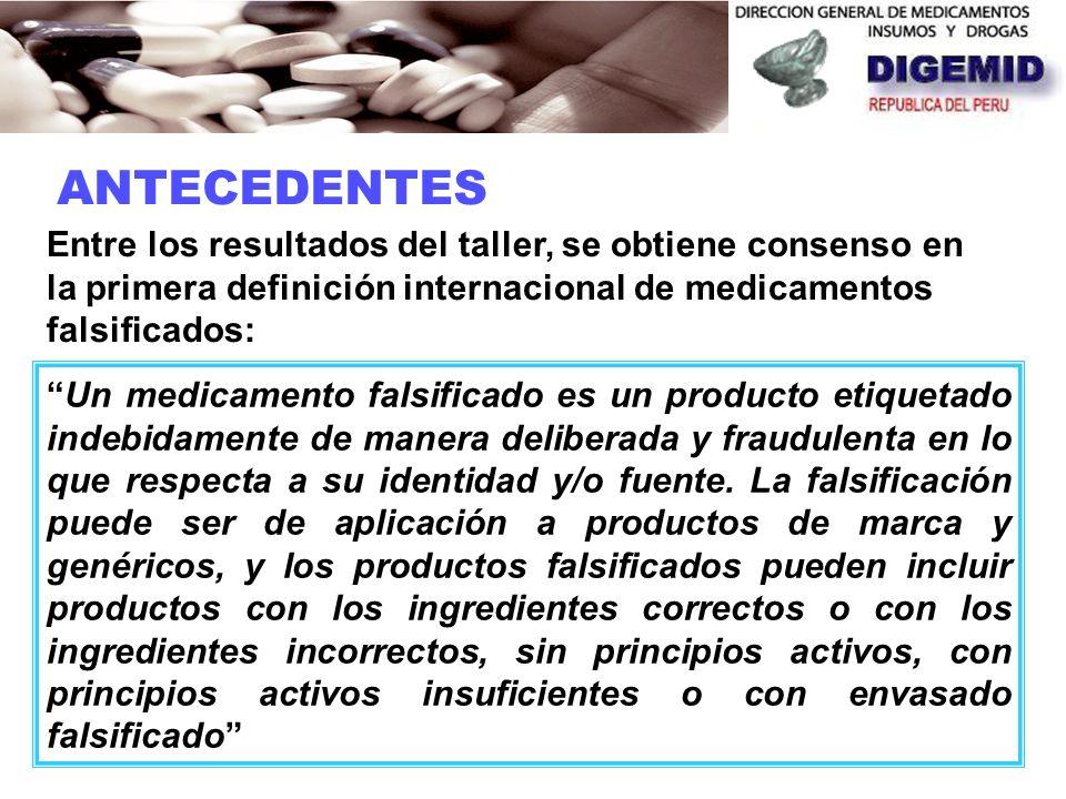 ANTECEDENTES Entre los resultados del taller, se obtiene consenso en la primera definición internacional de medicamentos falsificados: