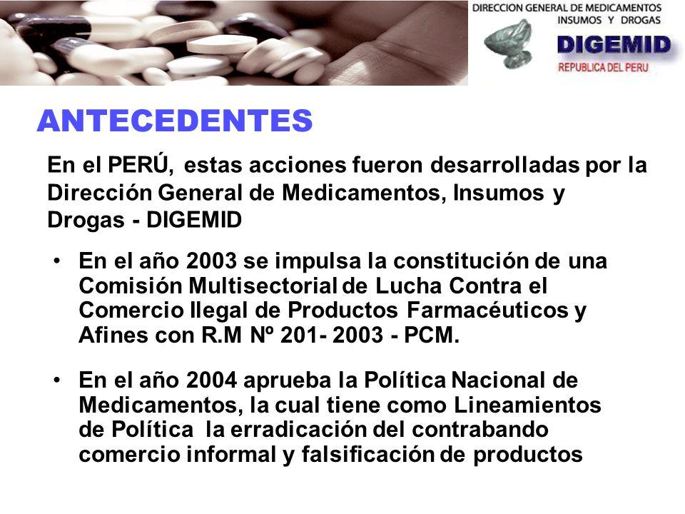 ANTECEDENTES En el PERÚ, estas acciones fueron desarrolladas por la Dirección General de Medicamentos, Insumos y Drogas - DIGEMID.