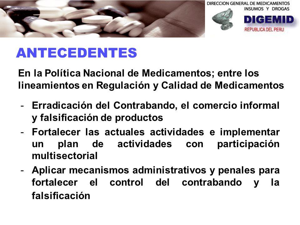 ANTECEDENTES En la Política Nacional de Medicamentos; entre los lineamientos en Regulación y Calidad de Medicamentos.