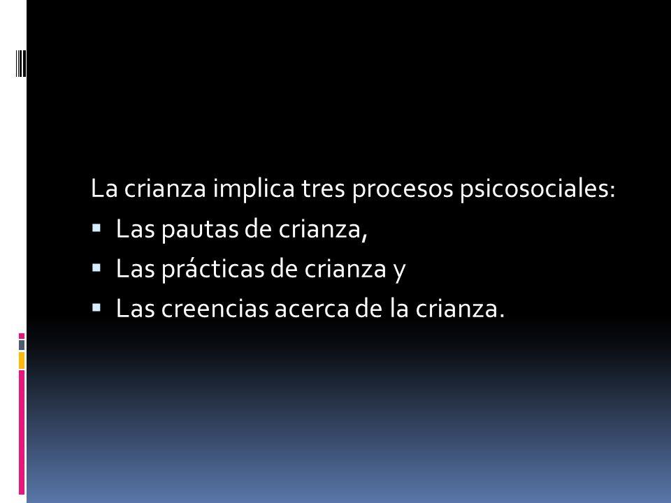 La crianza implica tres procesos psicosociales: