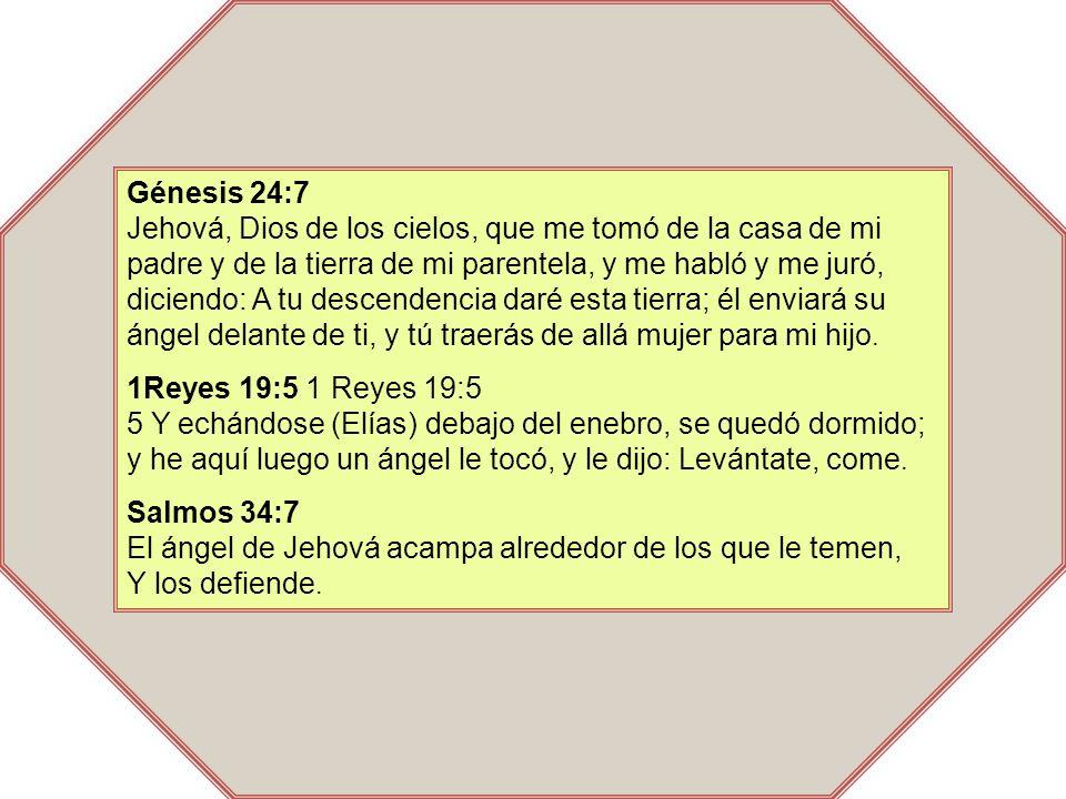 Génesis 24:7 Jehová, Dios de los cielos, que me tomó de la casa de mi padre y de la tierra de mi parentela, y me habló y me juró, diciendo: A tu descendencia daré esta tierra; él enviará su ángel delante de ti, y tú traerás de allá mujer para mi hijo.