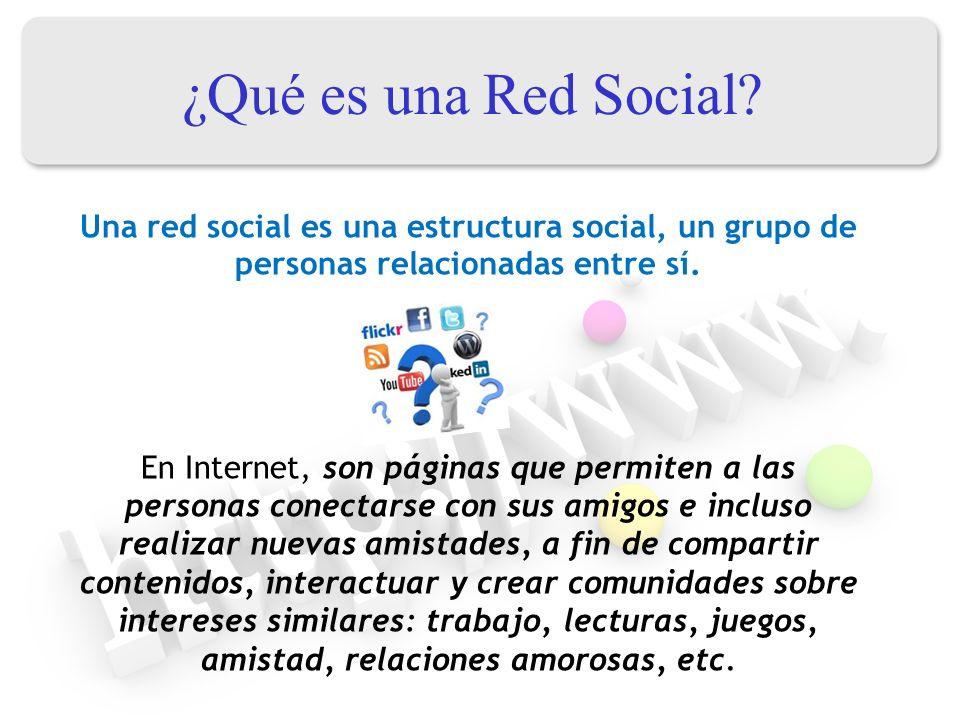 ¿Qué es una Red Social Una red social es una estructura social, un grupo de personas relacionadas entre sí.