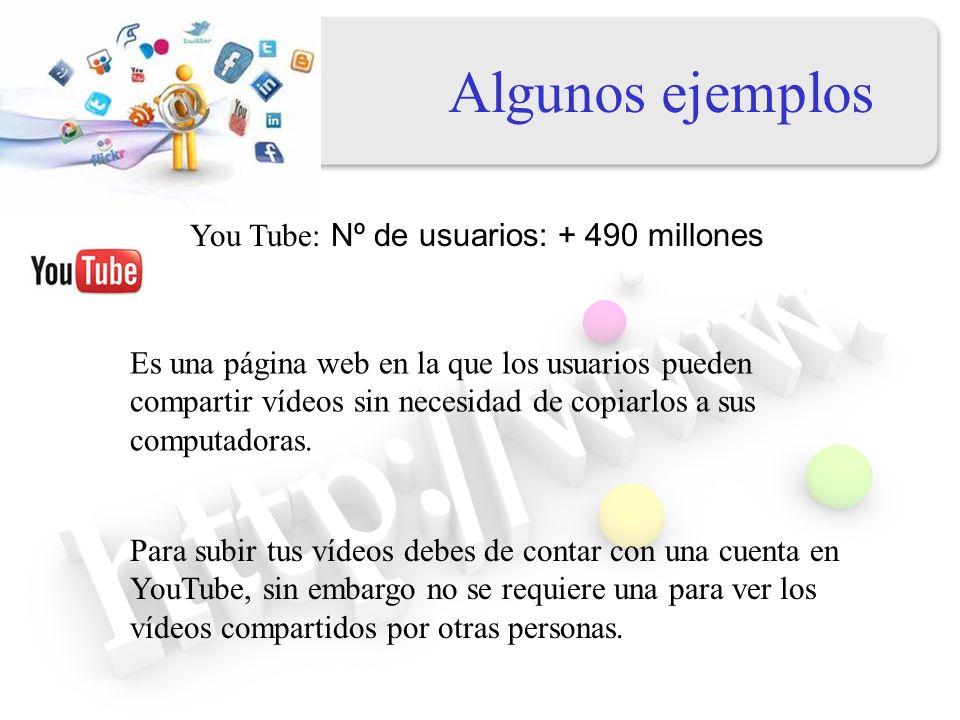 Algunos ejemplos You Tube: Nº de usuarios: + 490 millones
