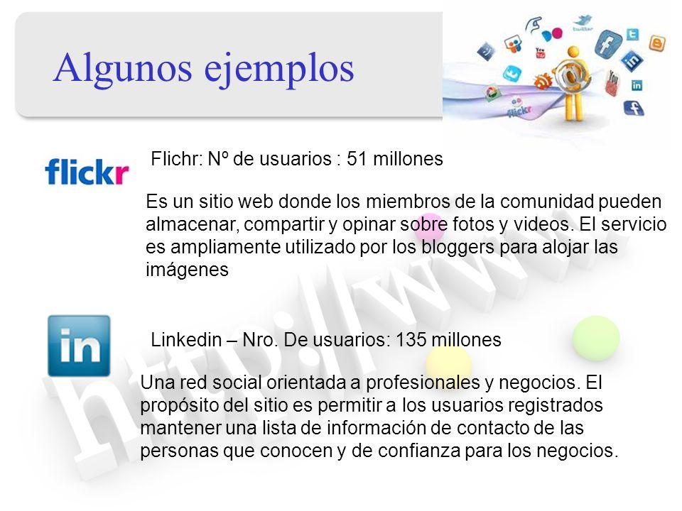 Algunos ejemplos Flichr: Nº de usuarios : 51 millones