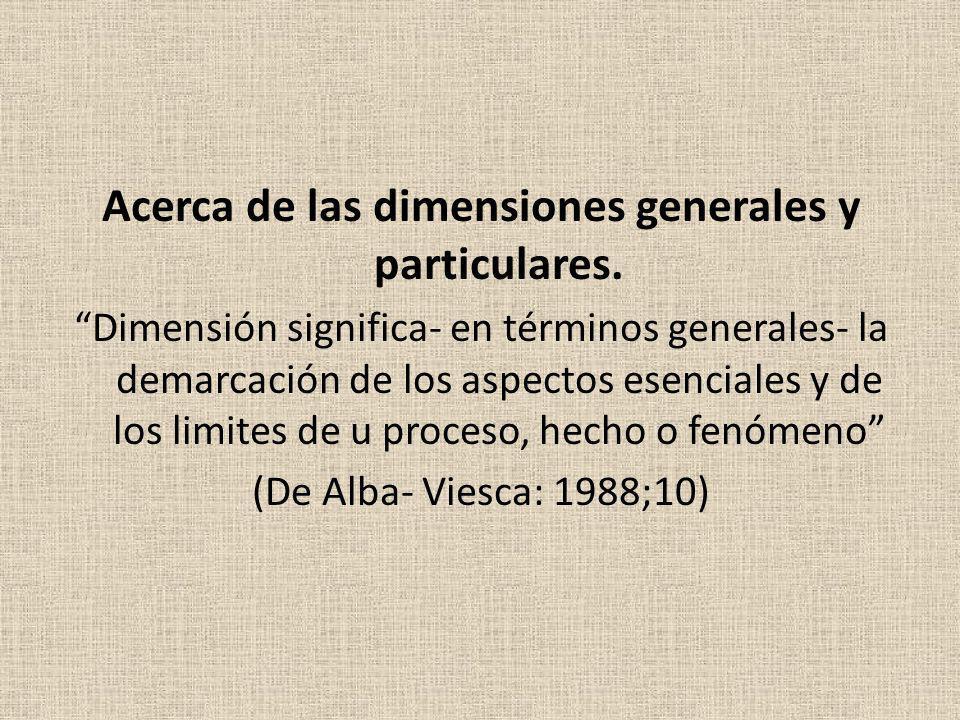 Acerca de las dimensiones generales y particulares.