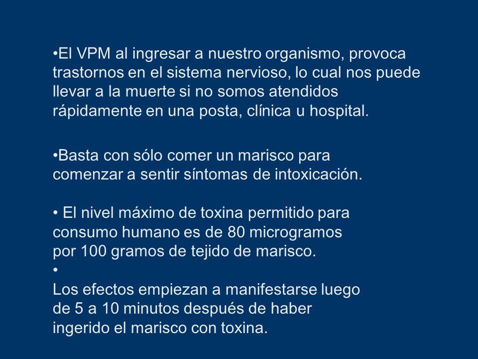 El VPM al ingresar a nuestro organismo, provoca trastornos en el sistema nervioso, lo cual nos puede llevar a la muerte si no somos atendidos rápidamente en una posta, clínica u hospital.