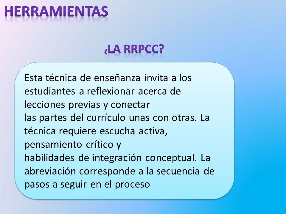 herramientas ¿La RRPCC Esta técnica de enseñanza invita a los estudiantes a reflexionar acerca de lecciones previas y conectar.