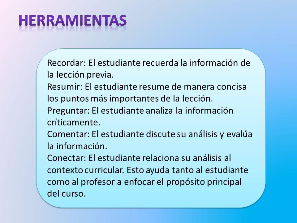 herramientas Recordar: El estudiante recuerda la información de la lección previa.