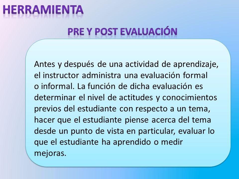 herramienta Pre y post evaluación
