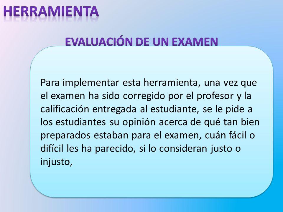 Evaluación de un examen