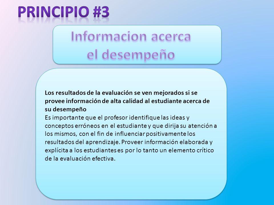 Principio #3 Informacion acerca el desempeño