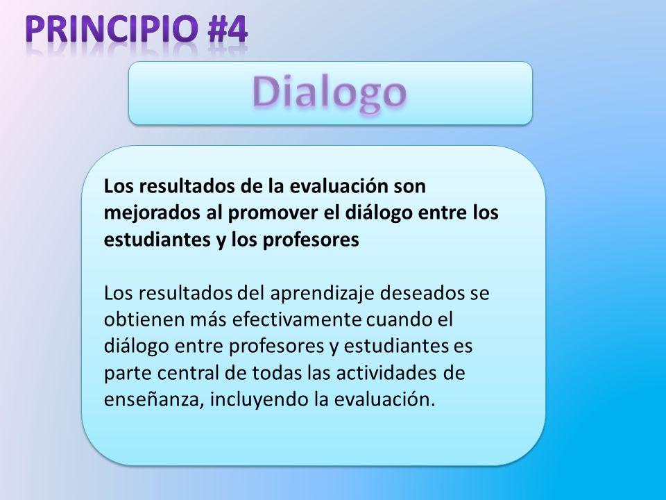 Principio #4 Dialogo. Los resultados de la evaluación son mejorados al promover el diálogo entre los estudiantes y los profesores.
