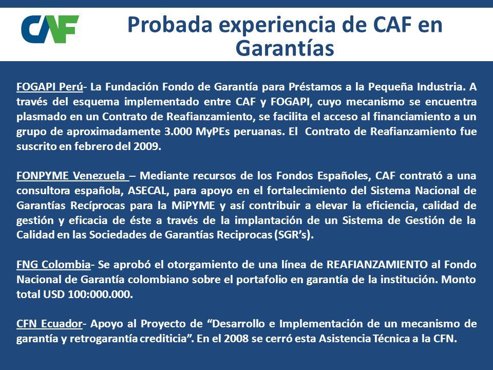 Probada experiencia de CAF en Garantías