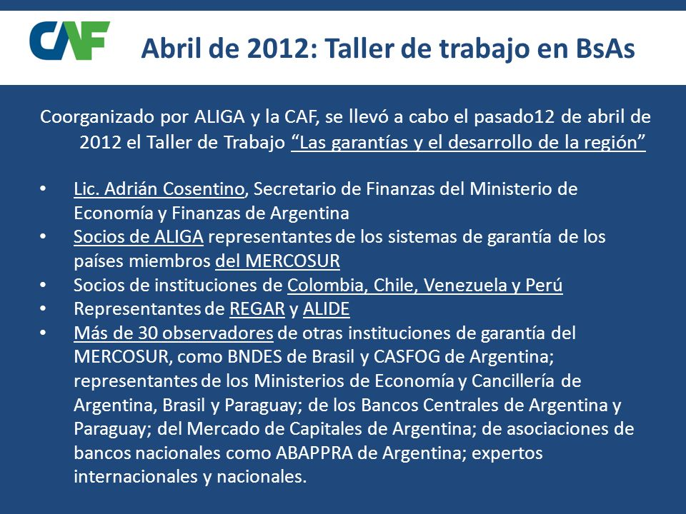 Abril de 2012: Taller de trabajo en BsAs