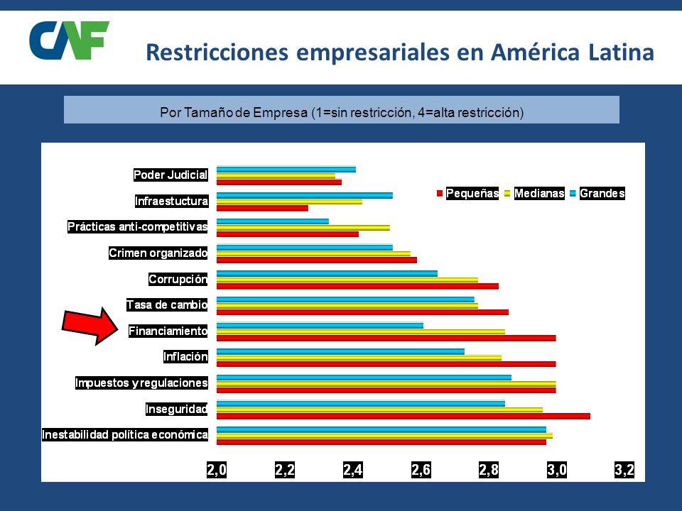 Por Tamaño de Empresa (1=sin restricción, 4=alta restricción)