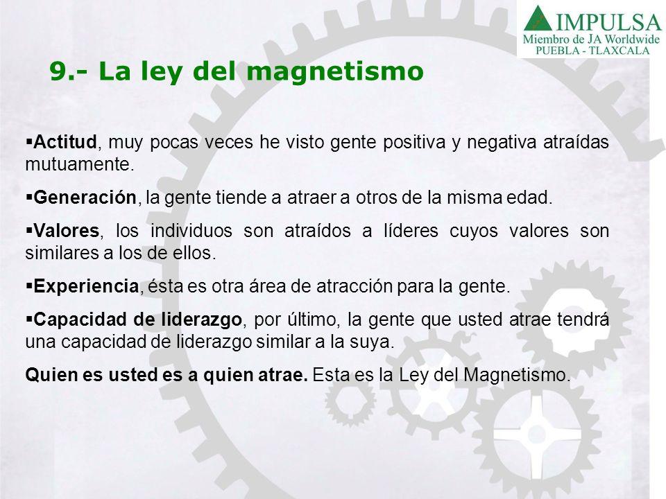 9.- La ley del magnetismoActitud, muy pocas veces he visto gente positiva y negativa atraídas mutuamente.