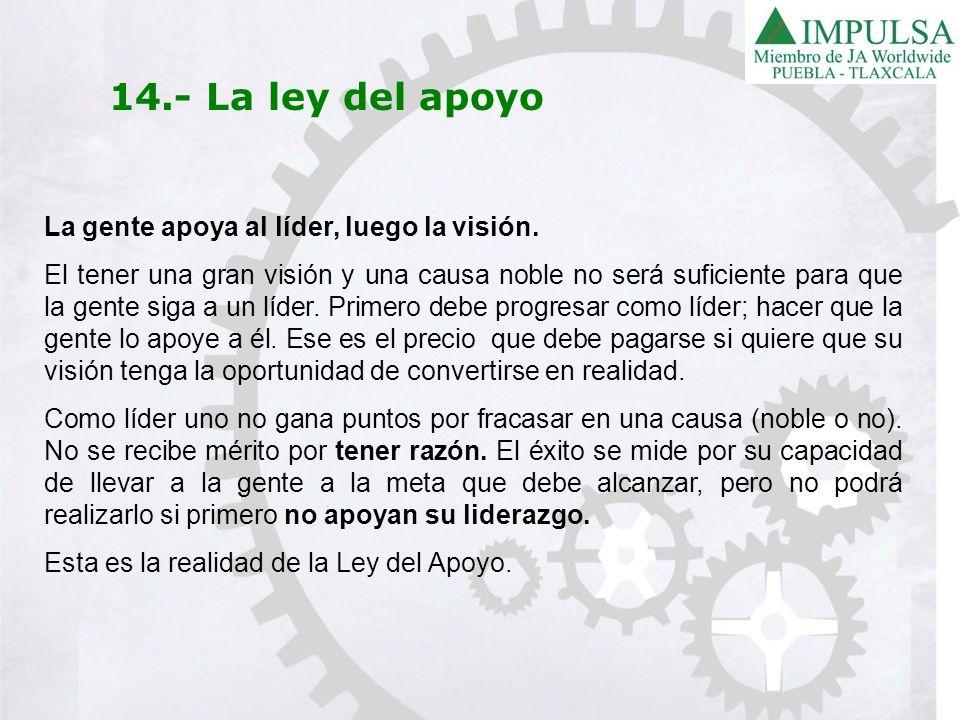 14.- La ley del apoyo La gente apoya al líder, luego la visión.