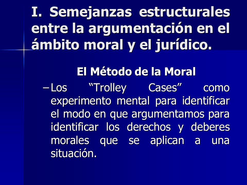 I. Semejanzas estructurales entre la argumentación en el ámbito moral y el jurídico.