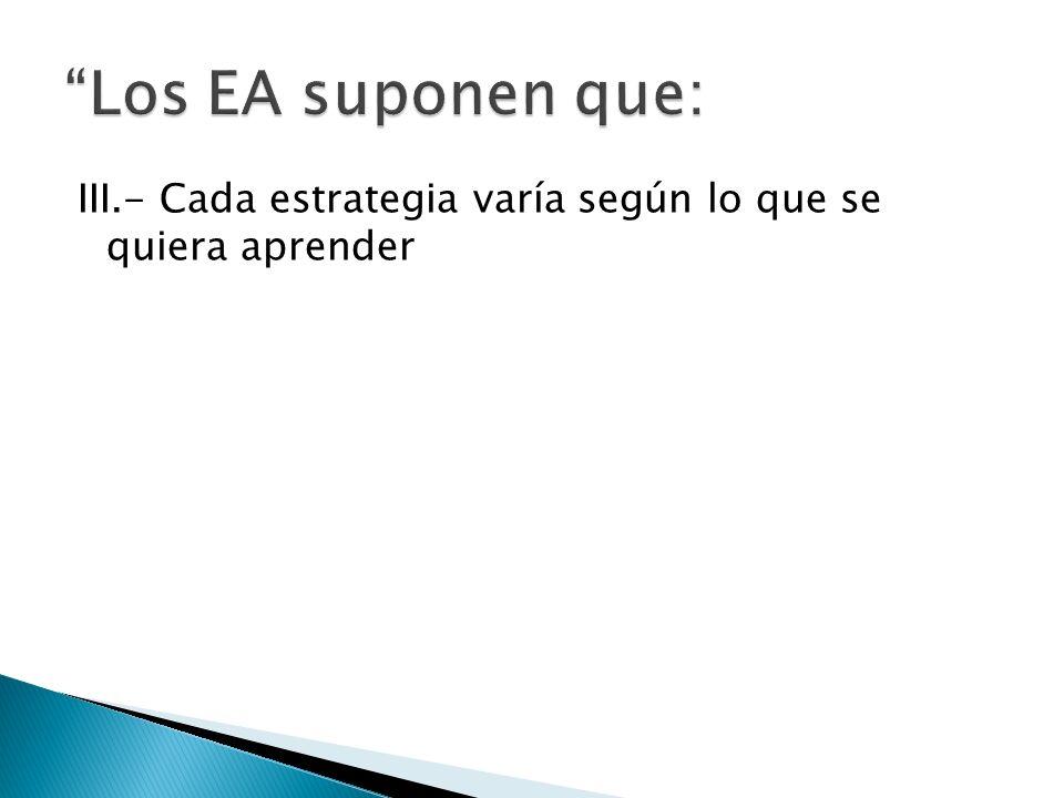 Los EA suponen que: III.- Cada estrategia varía según lo que se quiera aprender