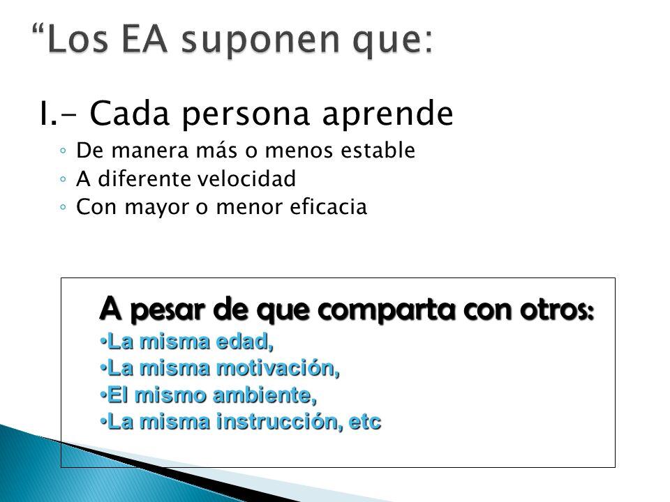Los EA suponen que: I.- Cada persona aprende