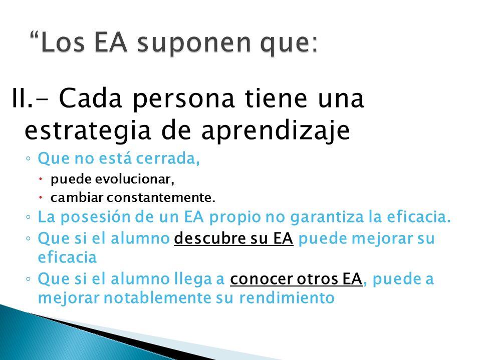Los EA suponen que: II.- Cada persona tiene una estrategia de aprendizaje. Que no está cerrada, puede evolucionar,