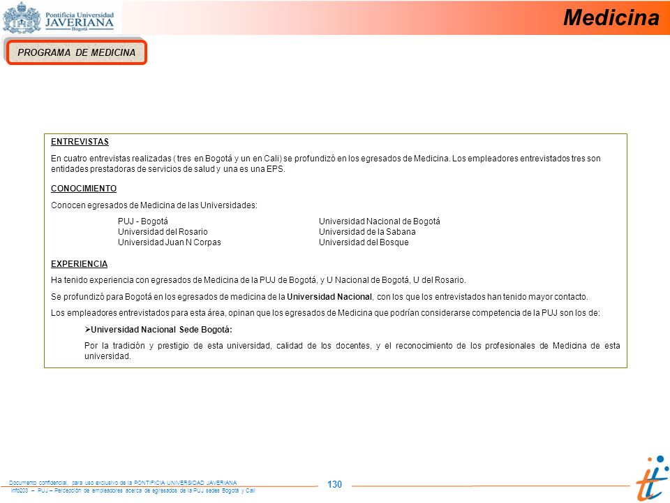Medicina 130 PROGRAMA DE MEDICINA ENTREVISTAS