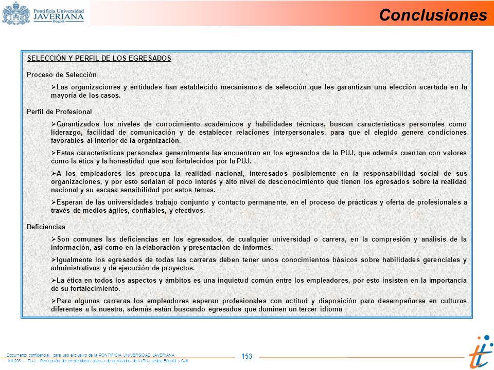 Conclusiones 153 SELECCIÓN Y PERFIL DE LOS EGRESADOS