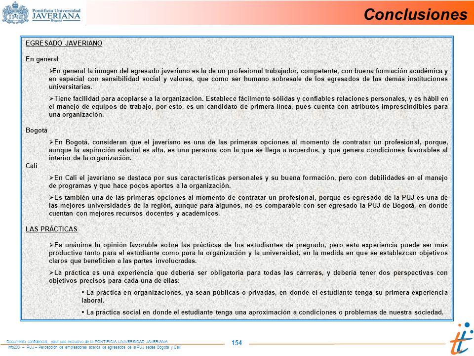 Conclusiones 154 EGRESADO JAVERIANO En general